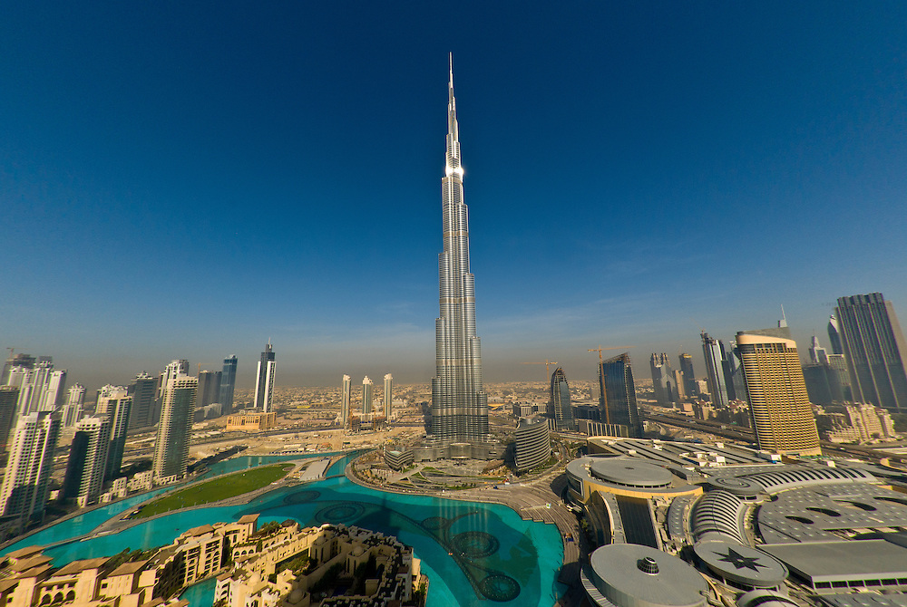 View from the Address Hotel of the area surrounding the Burj Khalifa, the tallest building in the world in downtown Dubai (Dubai Mall on right), Dubai, United Arab Emirates
