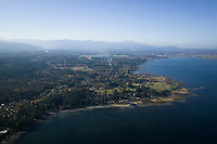 An aerial view of Gartley Point and Royston, in the Comox Valley.  Courtenay, The Comox Valley, Vancouver Island, British Columbia, Canada.