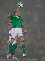 Armin Bacinovic of Slovenia vs Warren Feeney of Northern Ireland during EURO 2012 Qualifications game between National teams of Slovenia and Northern Ireland, on March 29, 2011, in Windsor Park Stadium, Belfast, Northern Ireland, United Kingdom. (Photo by Vid Ponikvar / Sportida)