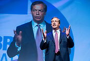 Brexit Party event<br /> Nigel Farage and Ann Widdecombe in Peterborough for a rally with the Brexit Party&rsquo;s Eastern region European election candidates. <br /> at King's Gate Conference Centre, Peterborough, Great Britain <br /> 7th May 2019 <br /> <br /> Nigel Farage - leader <br /> <br /> <br /> Photograph by Elliott Franks