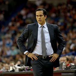 Oct 23, 2013; New Orleans, LA, USA; Miami Heat head coach Erik Spoelstra against the New Orleans Pelicans during the first half of a preseason game at New Orleans Arena. Mandatory Credit: Derick E. Hingle-USA TODAY Sports