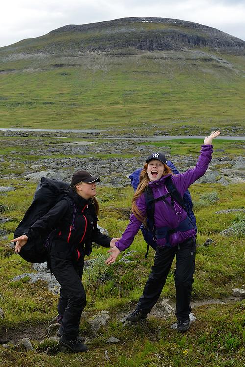 Mimmi Widstrand and Julia Mångsåker, family hiking trip on the Laponia Circuit, along the Padjelantaleden trail, Padjelanta National Park and Sarek National Park, Norrbotten, Lapland, Sweden.
