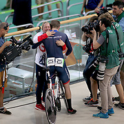 Track Cycling - Olympics: Day 11  Jason Kenny of Great Britain is met by his fiancee Laura Trott  after his  gold medal ride in the Men's Keirin during the track cycling competition at the Rio Olympic Velodrome August 16, 2016 in Rio de Janeiro, Brazil. (Photo by Tim Clayton/Corbis via Getty Images)