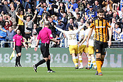 Sheffield Wednesday forward Jordan Rhodes (7) scores a goal 0-1and celebrates during the EFL Sky Bet Championship match between Hull City and Sheffield Wednesday at the KCOM Stadium, Kingston upon Hull, England on 14 April 2018. Picture by Mick Atkins.