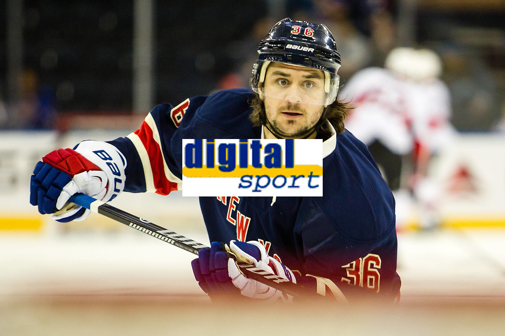 April 05, 2014: New York Rangers Right Wing Mats Zuccarello (36) 7214 scores 2 goals in the second period of a NHL Eishockey Herren USA game between the Ottawa Senators and the New York Rangers at Madison Square Garden in New York, NY. NHL Eishockey Herren USA APR 05 Senators at Rangers <br /> <br /> Norway only