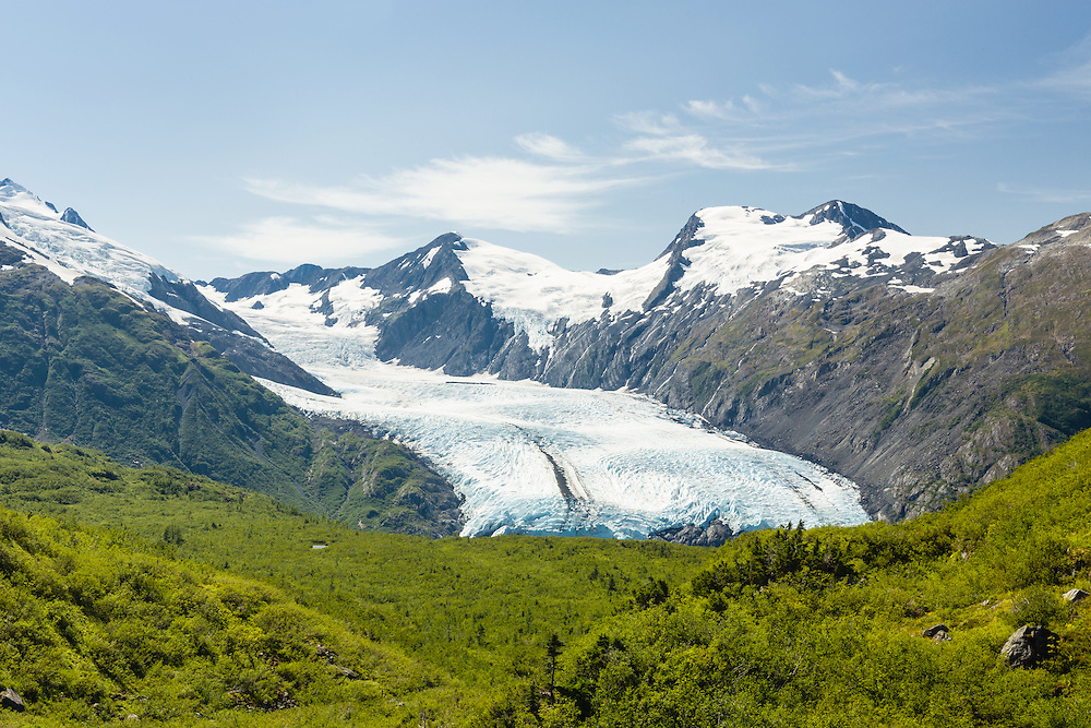 Scenic view of Portage Glacier from Portage Pass in Chugach National Forest in Southcentral Alaska. Summer. Afternoon.