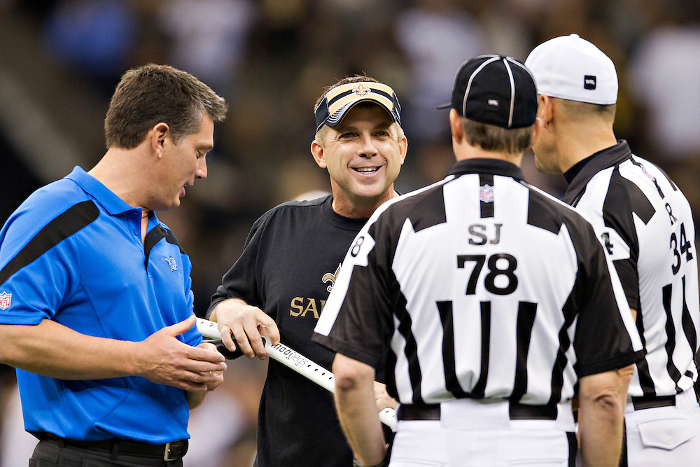 NEW ORLEANS, LA - DECEMBER 4:   Head Coach Sean Payton of the New Orleans Saints and Head Coach Jim Schwartz of the Detroit Lions talk with officials before the game at Mercedes-Benz Superdome on December 4, 2011 in New Orleans, Louisiana.  The Saints defeated the Lions 31-17.  (Photo by Wesley Hitt/Getty Images) *** Local Caption *** Sean Payton; Jim Schwartz