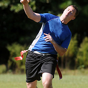 John Hannah throws against YGH at Castle Hayne Park Sunday October 5, 2014. (Jason A. Frizzelle(