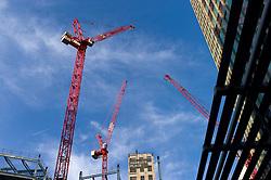 UK ENGLAND LONDON 18NOV11 - Cranes in the sky at the Regents Place site along the Euston Road in central London...jre/Photo by Jiri Rezac....© Jiri Rezac 2011