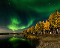 Aurora borealis on a full-moon night near the town of North Pole Alaska