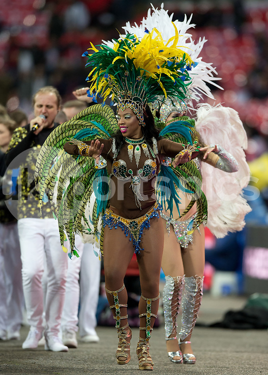 Samba dancer during the International Friendly match between England and Brazil at Wembley Stadium, London, England on 14 November 2017. Photo by Vince Mignott.