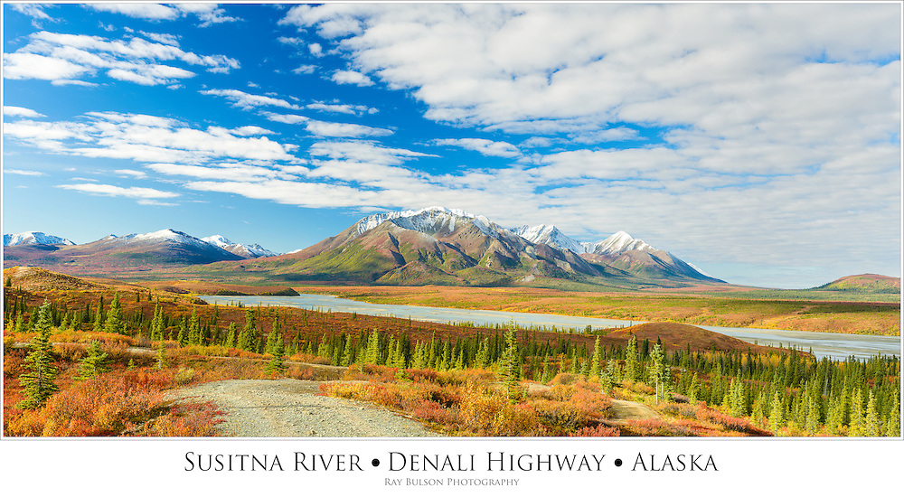 Composite panorama of the Susitna River and the Talkeetna Mountains south of the Denali Highway in late autumn in Southcentral Alaska. Morning.