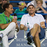 August 21, 2014, New Haven, CT:<br /> Andy Roddick is interviewed by host Andrew Krasny during the Men's Legends Event on day seven of the 2014 Connecticut Open at the Yale University Tennis Center in New Haven, Connecticut Thursday, August 21, 2014.<br /> (Photo by Billie Weiss/Connecticut Open)