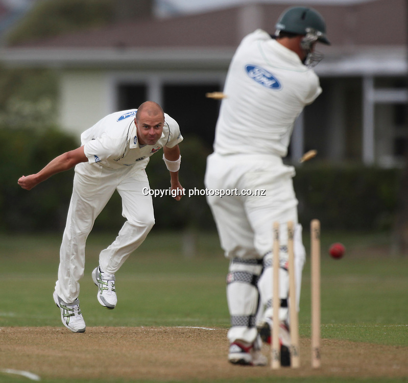 Stag's Matt Sinclair looks back at his stumps after being bowled by Chris Martin in the Plunket Shield cricket match between the Central Districts Stags and the Auckland Aces at Nelson Park, Napier,  New Zealand. Sunday, 04 November, 2012. Photo: John Cowpland / photosport.co.nz