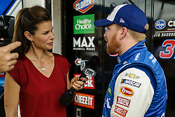 April 6, 2018 - Fort Worth, TX, U.S. - FORT WORTH, TX - APRIL 06: Fox reporter Jamie Little interviews Monster Energy NASCAR Cup Series driver Chris Buescher (37) after the Monster Energy NASCAR Cup Series practice on April 6, 2018 at the Texas Motor Speedway in Fort Worth, Texas. (Photo by Matthew Pearce/Icon Sportswire) (Credit Image: © Matthew Pearce/Icon SMI via ZUMA Press)