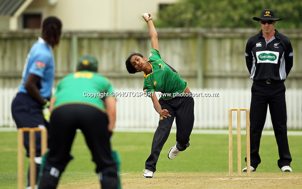 Maneka Singh bowling for Central. Central Hinds v Auckland Hearts. Action Cricket Twenty20, womens cricket match, Lincoln Green, Lincoln University, Thursday 29 December 2011. Photo : Joseph Johnson / photosport.co.nz