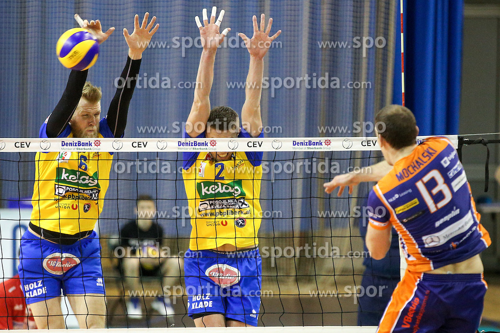 Eric Mochalski of ACH vs Peter Wohlfahrtstaetter of Aich Dob and Kiryl Krasneuski of Aich Dob during volleyball match between ACH Volley Ljubljana and Posojilnica Aich - Dob in Semifinal of MEVZA Cup Men - Final Four, on March 11, 2016 in Hala Tivoli, Ljubljana, Slovenia. Photo by Morgan Kristan / Sportida