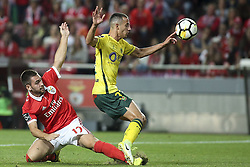 September 23, 2017 - Lisbon, Portugal - Benfica's midfielder Andrija Zivkovic (L) vies with Pacos Ferreira's midfielder Alonso during the Portuguese League  football match between SL Benfica and FC Pacos de Ferreira at Luz  Stadium in Lisbon on September 23, 2017. (Credit Image: © Carlos Costa/NurPhoto via ZUMA Press)