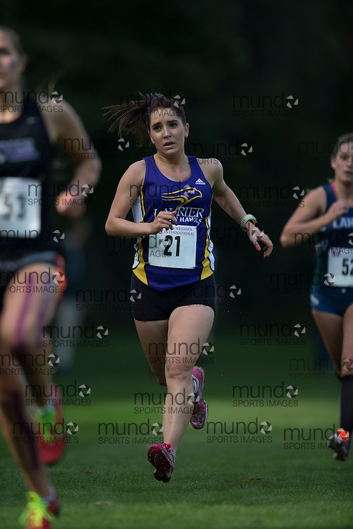 Chloe Condon of the Laurier Golden Hawks runs at the 2014 Western International Cross country meet in London Ontario, Saturday,  September 20, 2014.<br /> Mundo Sport Images/ Geoff Robins