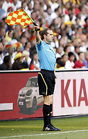 Free State Stadium Bloemfontein World Cup 2010  Germany v England Match 51 27/06/10<br /> The linesman waves his flag, but a clear England goal is denied.<br /> Photo Roger Parker Fotosports International