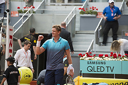 May 11, 2018 - Madrid, Madrid, Spain - KEVIN ANDERSON celebrates his victory in a match against DUSAN LAJOVIC during the quarter finals of Mutua Madrid Open 2018 - ATP in Madrid. KEVIN ANDERSON won the match 7-6(3) 3-6 6-3. (Credit Image: © Patricia Rodrigues via ZUMA Wire)