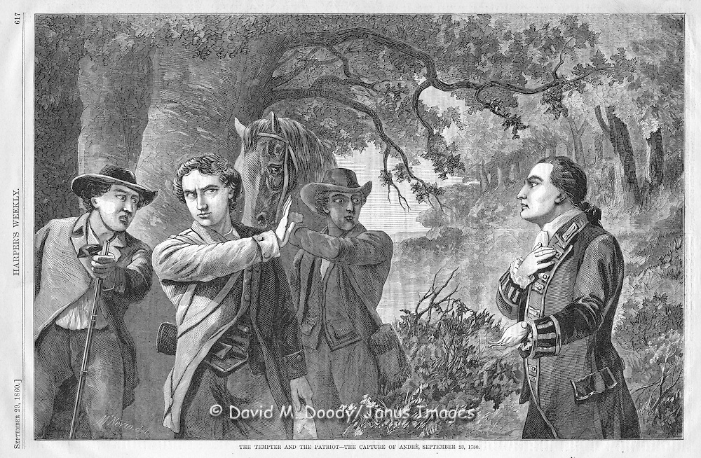 The capture of British Major Andre during the American Revolution, Sept, 23, 1780. From Harper's Weekly, September 1860.