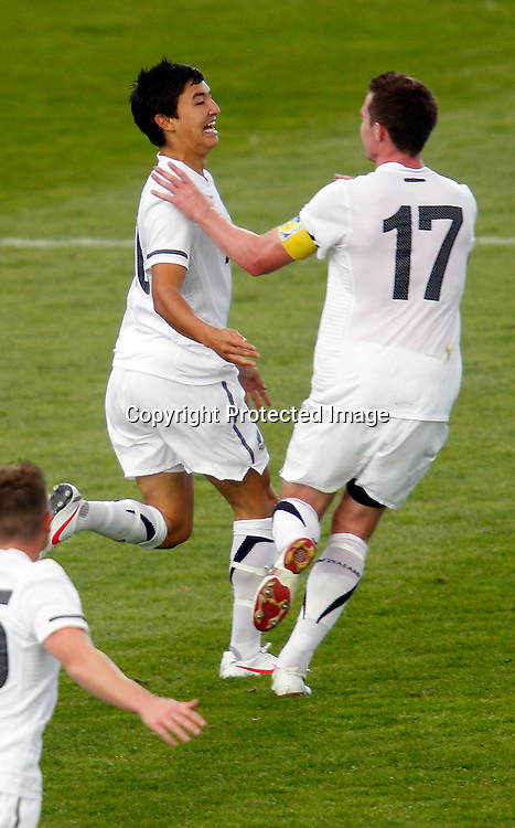 NZ's Sean Lovemore celebrates scoring the only goal of the match. OFC Men's Olympic Qualifier New Zealand 2012, New Zealand v Papua New Guinea, Owen Delany Park Taupo, Friday 16th March 2012. Photo: Shane Wenzlick