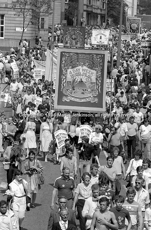 Manvers and Cortonwood banners, 1984 Yorkshire Miner's Gala. Wakefield.