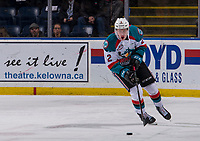 KELOWNA, CANADA - JANUARY 9:  Lassi Thomson #2 of the Kelowna Rockets skates with the puck against the Everett Silvertips on January 9, 2019 at Prospera Place in Kelowna, British Columbia, Canada.  (Photo by Marissa Baecker/Shoot the Breeze)