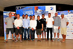 The Skippers for the French Match Race Tour, the opening round of the World Match Racing Tour gather together at the welcome evening. Photo: Chris Davies/WMRT