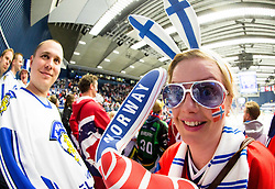 Fans of Finland and Norway during Ice Hockey match between Russia and Norway at Day 1 in Group B of 2015 IIHF World Championship, on May 1, 2015 in CEZ Arena, Ostrava, Czech Republic. Photo by Vid Ponikvar / Sportida