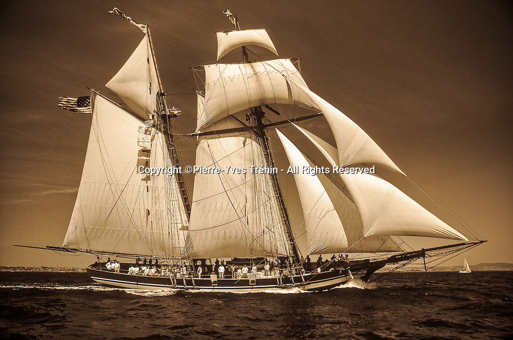 The Pride of Baltimore II, a replica vessel of 19th-century topsail schooner, sailing France as a Goodwill Ambassador from Baltimore and the State of Maryland-USA