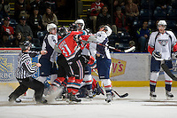 KELOWNA, CANADA, NOVEMBER 30: The Tri City Americans visit the Kelowna Rockets  on November 30, 2011 at Prospera Place in Kelowna, British Columbia, Canada (Photo by Marissa Baecker/Shoot the Breeze) *** Local Caption ***