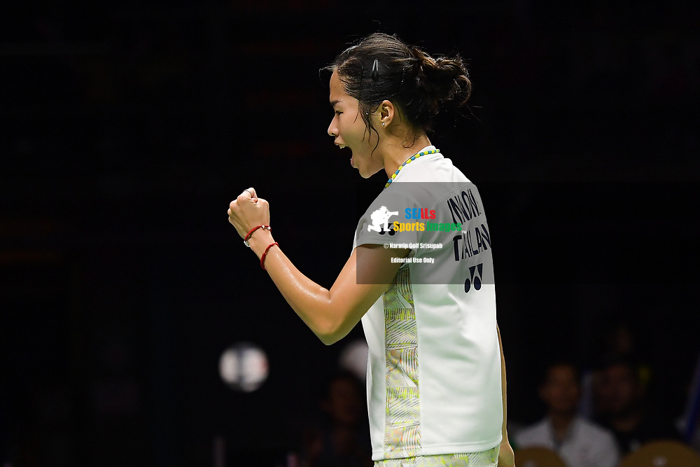 BANGKOK, THAILAND - MAY 25: Ratchanok Intanon of Thailand reaction on Court 1 during her Semi-Finals match against Chen Yufei of China at the BWF Total Thomas and Uber Cup Finals 2018, Impact Arena , Bangkok, Thailand on May 25, 2018.<br /> .<br /> .<br /> .<br /> Photo by: Naratip Golf Srisupab/SEALs Sports Images<br /> <br /> .<br /> All photo must include a credit line adjacent to the content: Naratip Golf Srisupab/SEALs Sports Images