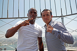 May 19, 2009; New York, NY, USA; Floyd Mayweather Jr. (l) and Juan Manuel Marquez (r) pose on the observation deck of the Empire State Building after announcing their upcoming fight.  The two will meet on July 18, 2009 at the MGM Grand Garden Arena in Las Vegas, NV.