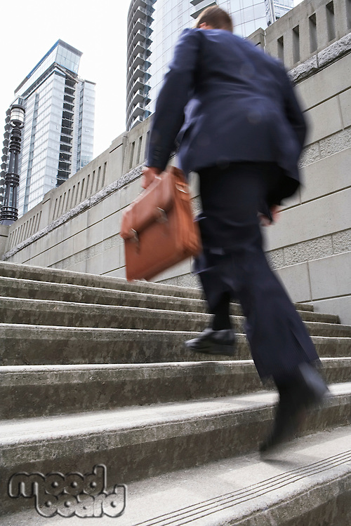 Business man carrying briefcase ascending steps low angle view