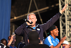 Kasper Schmeichel of Leicester City sings at Victoria park during the victory celebrations  - Mandatory by-line: Jack Phillips/JMP - 16/05/2016 - FOOTBALL - Leicester City FC, Sky Bet Premier League Winners 2016 - Leicester City Victory Parade