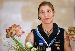 Second placed Mina Markovic of Slovenia at medal ceremony during Final IFSC World Cup Competition in sport climbing Kranj 2010, on November 14, 2010 in Arena Zlato polje, Kranj, Slovenia. (Photo By Vid Ponikvar / Sportida.com)