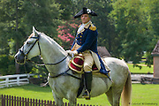 George Washington on horseback at Colonial Williamsburg.