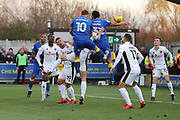 AFC Wimbledon striker Cody McDonald (10) with a header on goal during the EFL Sky Bet League 1 match between AFC Wimbledon and Walsall at the Cherry Red Records Stadium, Kingston, England on 25 November 2017. Photo by Matthew Redman.