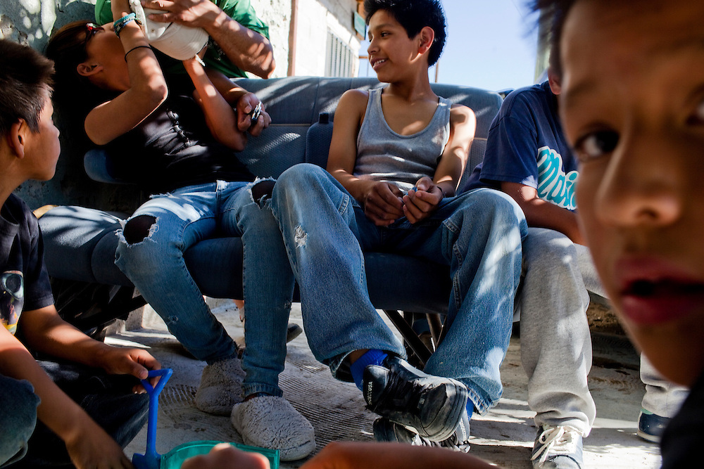 Children hang out in the Diaz Ordaz colonia, a gang area, in Ciudad Juarez, Chihuahua Mexico on May 7, 2010. ..