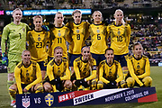Players of Sweden's national team pose for a photo prior to the start of the international friendly women's soccer match against USA, Thursday, Nov. 7, 2019, in Columbus, Ohio. USA defeated Sweden 3-2 . (Jason Whitman/Image of Sport)