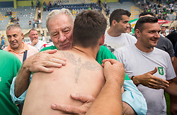 Milan Mandaric aholding Rok Kronaveter of NK Olimpija and  celebrate after they became Slovenian National Champion 2018 after the football match between NK Domzale and NK Olimpija Ljubljana in 36th Round of Prva liga Telekom Slovenije 2017/18, on May 27, 2018 in Sports park Domzale, Domzale, Slovenia. Photo by Vid Ponikvar / Sportida