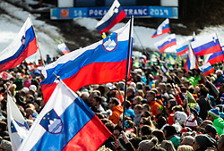 Supporters of Slovenia during the Audi FIS Alpine Ski World Cup Men's Slalom 58th Vitranc Cup 2019 on March 10, 2019 in Podkoren, Kranjska Gora, Slovenia. Photo by Matic Ritonja / Sportida