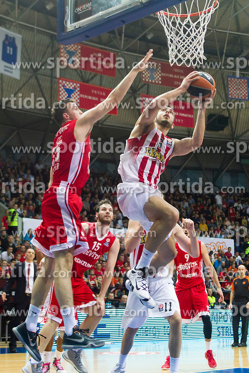 Ioannis Papapetrou of Olympiacos during Euroleague basketball match in 6th Round of Group B between KK Cedevita Zagreb and Olympiacos Piraeus, on November 19, 2015, in Drazen Petrovic basketball hall, Zagreb, Croatia.