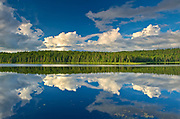 CLouds reflected in Trail Lake. Hwy 105<br />North of Vermillion Bay<br />Ontario<br />Canada