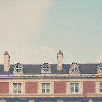 The roof top of a building overlooking Covent Garden, London.