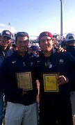 Marco, DJ Peterson (New Mexico), receiving our awards for pitcher of the tournament, and defensive mvp