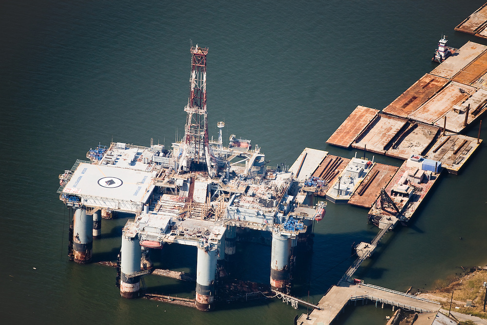 """Built in 1971, she was the first self-propelled submersible offshore platform. The rig was 'cold stacked"""" in 1998 by Diamond Offshore and will not be returned to offshore use.  """"Cold-stacked"""" means it is just standing idle and would need repair and maintenance."""