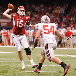 January 4, 2011; New Orleans, LA, USA;  Arkansas Razorbacks quarterback Ryan Mallett (15) throws on a two point conversion during the third quarter of the 2011 Sugar Bowl against the Ohio State Buckeyes at the Louisiana Superdome.  Mandatory Credit: Derick E. Hingle
